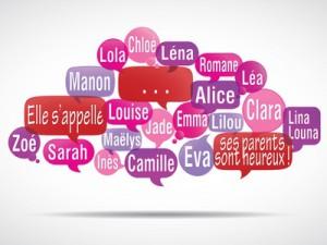 nuage de mots bulles : prénoms de filles